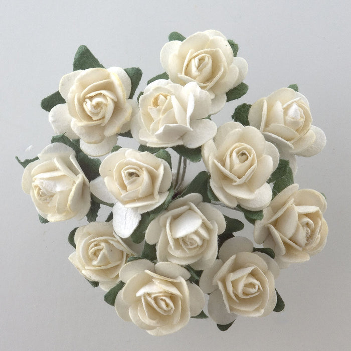 Cream 1.5cm Miniature Paper Tea Roses - Bunch of 12 Stems