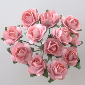 Pink 1.5cm Miniature Paper Tea Roses - Bunch of 12 Stems - Button Blue Crafts