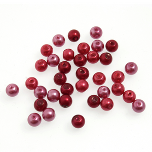 Trimits Graduated Red Mix Strung Glass Pearls 27 x 8mm Beads