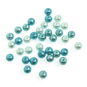 Trimits Graduated Blue Mix Strung Glass Pearls 30 x 6mm Beads - Button Blue Crafts