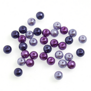 Trimits Graduated Purple Mix Strung Glass Pearls 30 x 6mm Beads - Button Blue Crafts