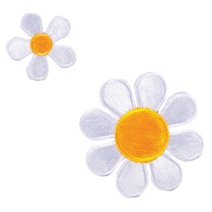 Daisy Flower x 2 Motifs Iron or Sew On Applique - CFM2/019