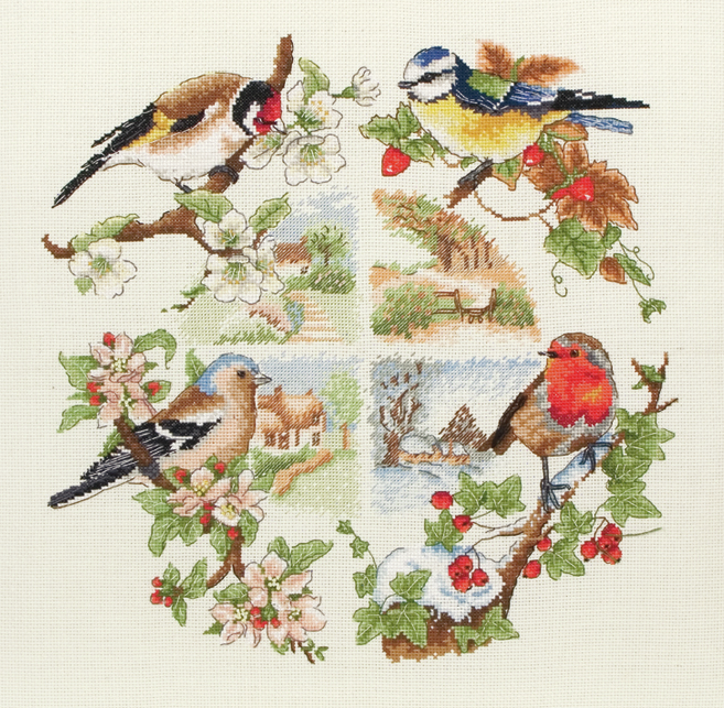 Anchor Counted Cross Stitch Kit - British Birds and Seasons Sampler