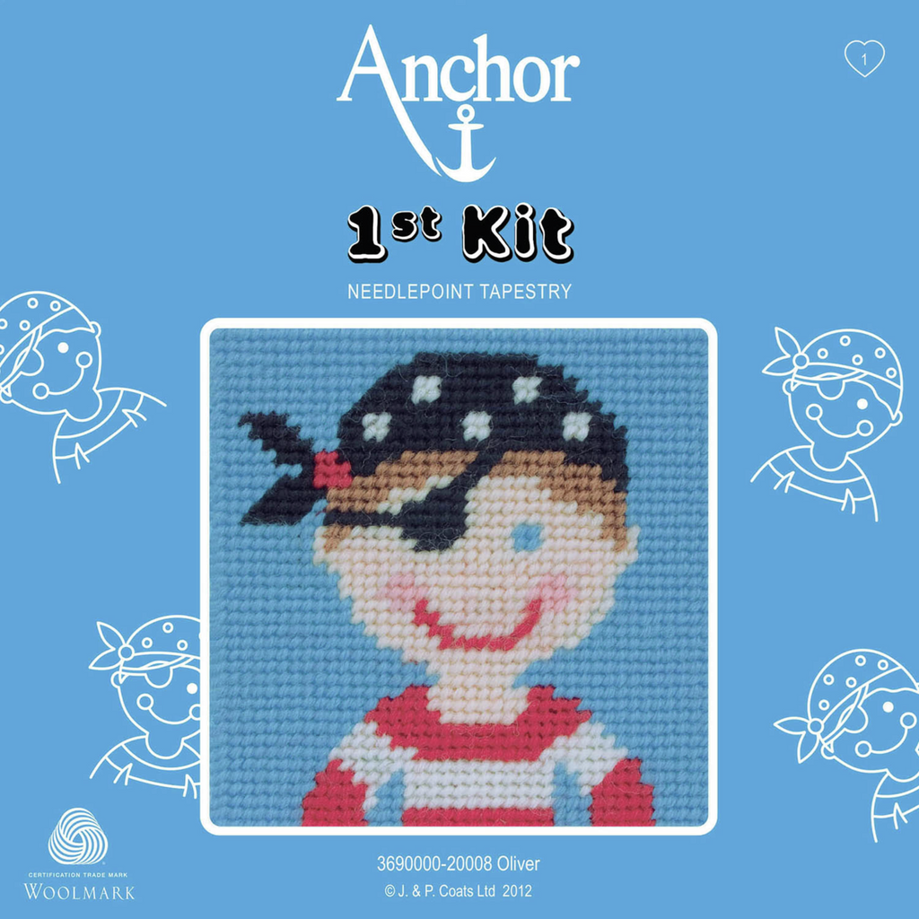 Oliver the Pirate Needlepoint Tapestry - Anchor 1st Kit - Button Blue Crafts