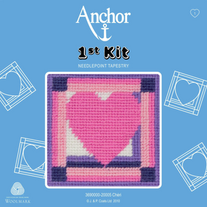 Cheri - Pink Heart Needlepoint Tapestry - Anchor 1st Kit - Button Blue Crafts