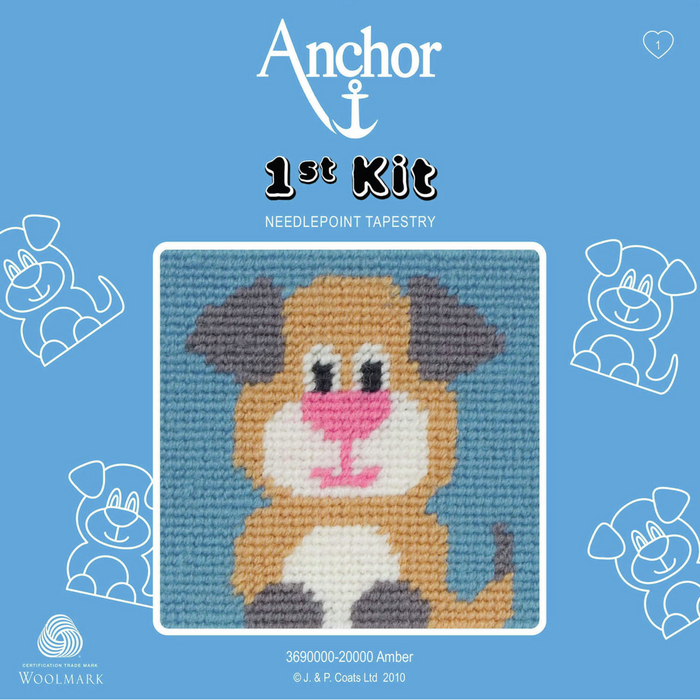 Amber Puppy Dog - Needlepoint Tapestry - Anchor 1st Kit
