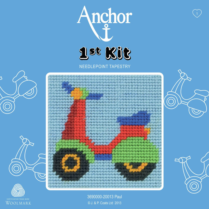 Paul the Scooter / Moped Needlepoint Tapestry - Anchor 1st Kit