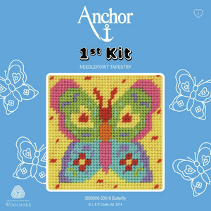 Butterfly Needlepoint Tapestry - Anchor 1st Kit - Button Blue Crafts