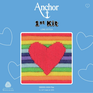 Rae - Rainbow Heart  - Long Stitch - Anchor 1st Kit - Button Blue Crafts
