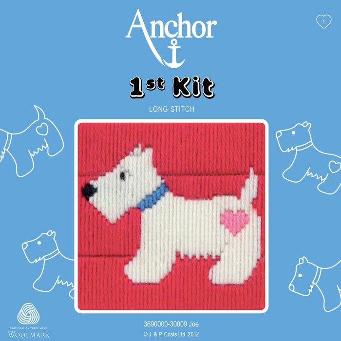 Joe - Scotty Dog with Heart - Long Stitch - Anchor 1st Kit