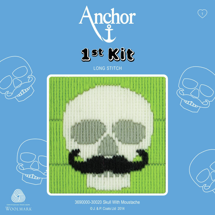 Skull with Moustache  - Long Stitch - Anchor 1st Kit
