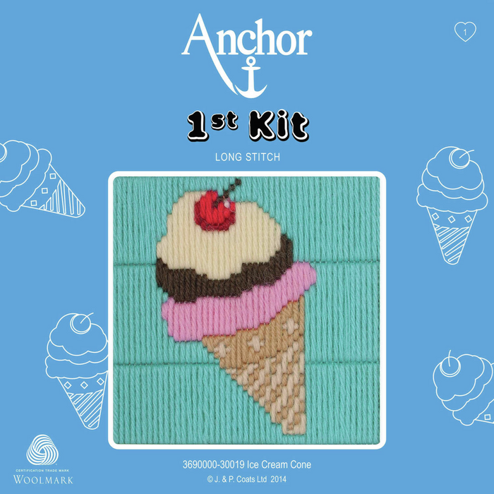 Ice Cream Cone - Long Stitch - Anchor 1st Kit
