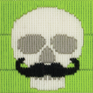 Skull with Moustache  - Long Stitch - Anchor 1st Kit - Button Blue Crafts