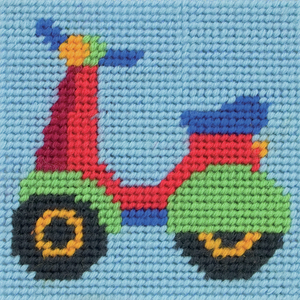 Paul the Scooter / Moped Needlepoint Tapestry - Anchor 1st Kit - Button Blue Crafts