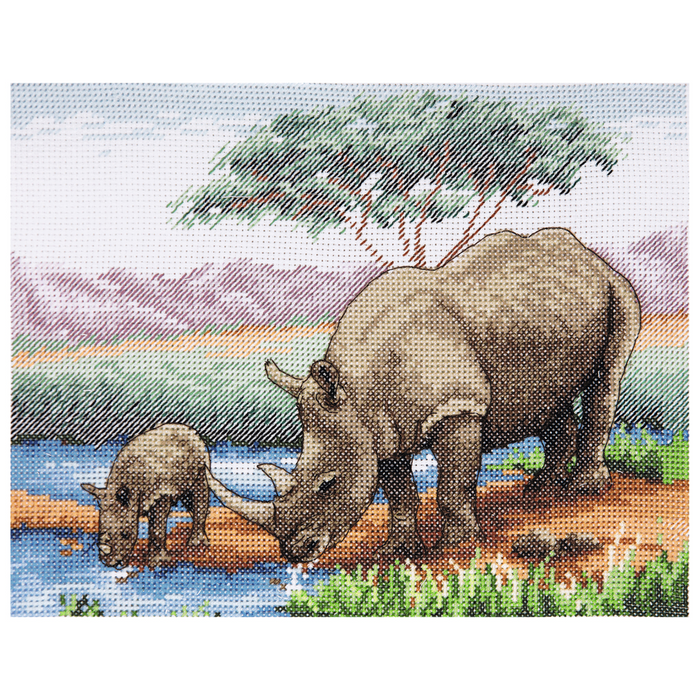 Anchor Counted Cross Stitch Kit - Rhino & Baby - African Wildlife