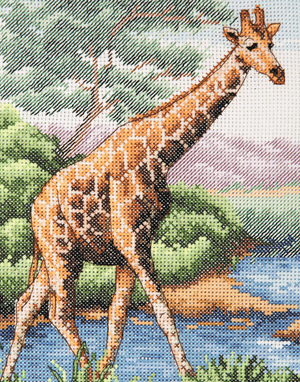 Anchor Counted Cross Stitch Kit - Giraffe - African Wildlife - Button Blue Crafts