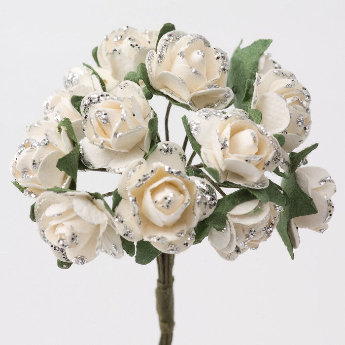 Off White / Silver Glitter 1.5cm Miniature Paper Tea Roses - Bunch of 12 Stems
