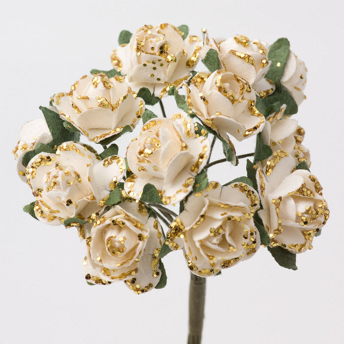Ivory / Gold Glitter 1.5cm Miniature Paper Tea Roses - Bunch of 12 Stems
