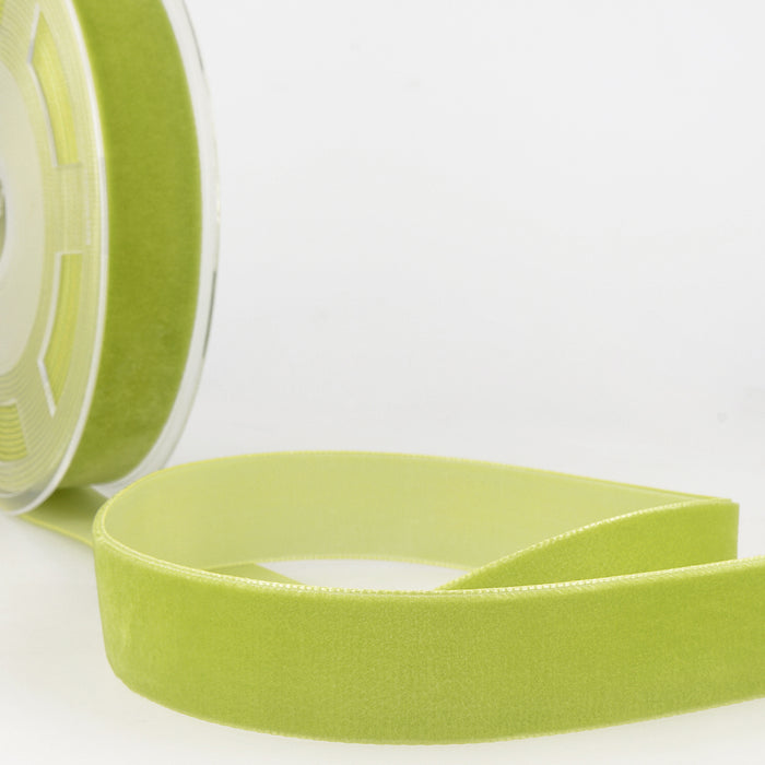 La Stephanoise Anise Green Velvet Ribbon - 5 Widths - Colour 016