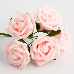 Pale Pink 5cm Foam Roses - Bunch of 6 Stems - Colourfast Flowers
