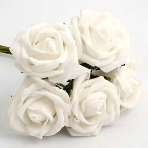 White 5cm Foam Roses - Bunch of 6 Stems - Colourfast Flowers - Button Blue Crafts