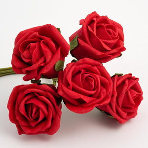 Red 5cm Foam Roses - Bunch of 6 Stems - Colourfast Flowers - Button Blue Crafts
