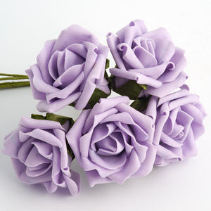 Lilac 5cm Foam Roses - Bunch of 6 Stems - Colourfast Flowers