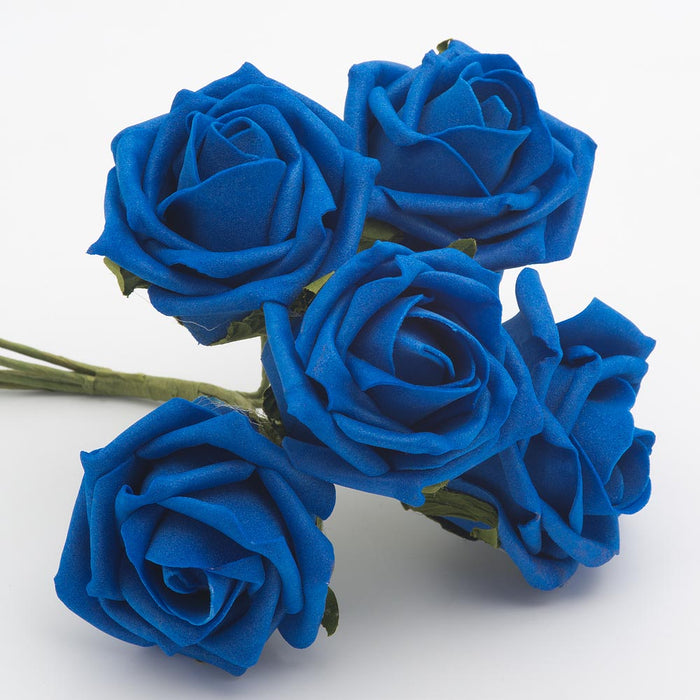Royal Blue 5cm Foam Roses - Bunch of 6 Stems - Colourfast Flowers