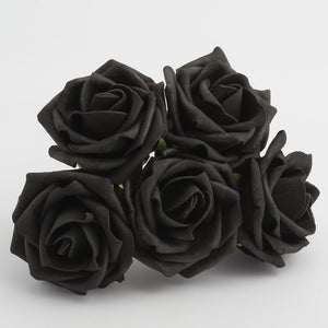 Black 5cm Foam Roses - Bunch of 6 Stems - Colourfast Flowers - Button Blue Crafts