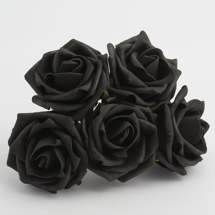 Black 5cm Foam Roses - Bunch of 6 Stems - Colourfast Flowers