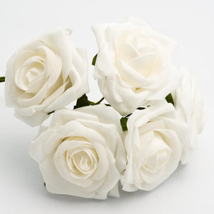 White 10cm Large Foam Roses - Bunch of 5 Stems - Colourfast Flowers