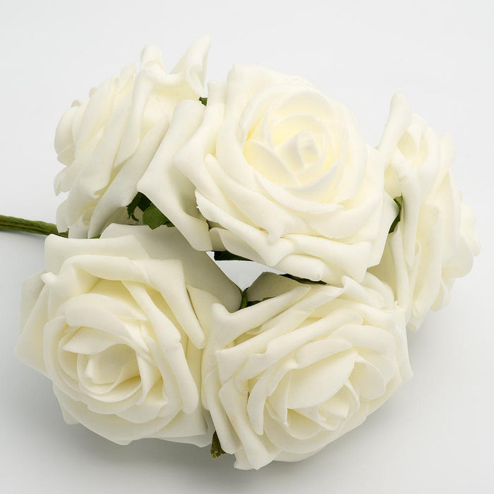 Ivory 10cm Large Foam Roses - Bunch of 5 Stems - Colourfast Flowers
