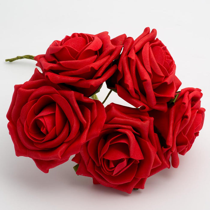 Red 10cm Large Foam Roses - Bunch of 5 Stems - Colourfast Flowers
