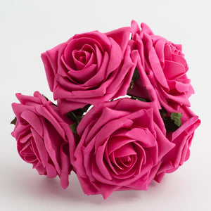 Hot Pink 10cm Large Foam Roses - Bunch of 5 Stems - Colourfast Flowers - Button Blue Crafts