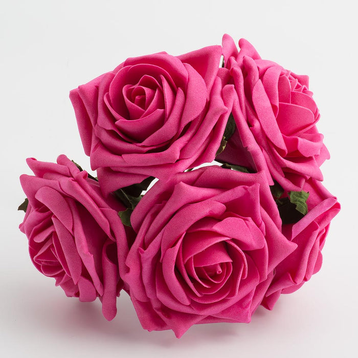 Hot Pink 10cm Large Foam Roses - Bunch of 5 Stems - Colourfast Flowers