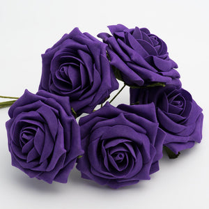 Purple 10cm Large Foam Roses - Bunch of 5 Stems - Colourfast Flowers - Button Blue Crafts