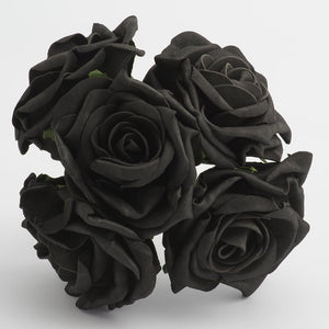 Black 10cm Large Foam Roses - Bunch of 5 Stems - Colourfast Flowers - Button Blue Crafts