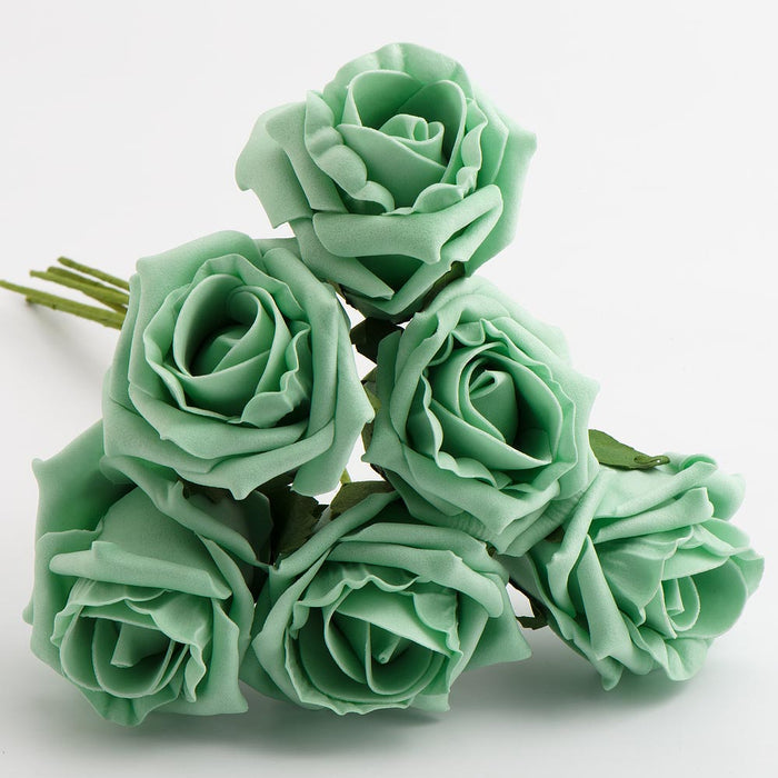 Mint Green 5cm Foam Roses - Bunch of 6 Stems - Colourfast Flowers