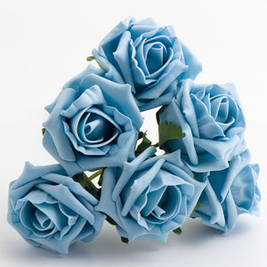 Light Blue 5cm Foam Roses - Bunch of 6 Stems - Colourfast Flowers - Button Blue Crafts