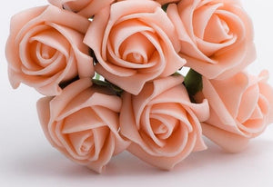 Vintage Peach 5cm Foam Roses - Bunch of 6 Stems - Colourfast Flowers - Button Blue Crafts