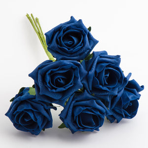 Navy Blue 5cm Foam Roses - Bunch of 6 Stems - Colourfast Flowers - Button Blue Crafts