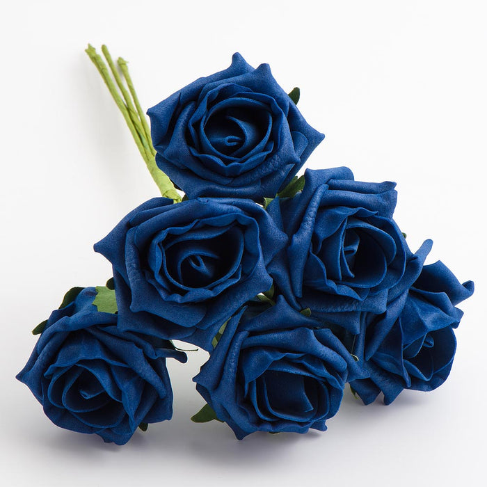 Navy Blue 5cm Foam Roses - Bunch of 6 Stems - Colourfast Flowers