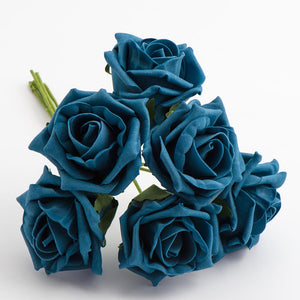 Teal 5cm Foam Roses - Bunch of 6 Stems - Colourfast Flowers - Button Blue Crafts
