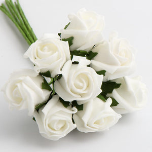 White 3cm Small Foam Roses - Bunch of 8 Stems - Colourfast Flowers - Button Blue Crafts