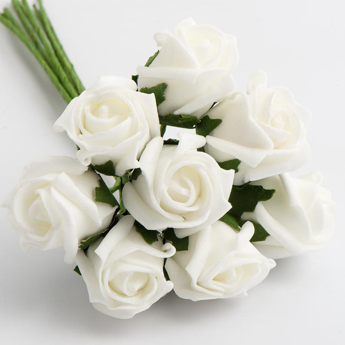 White 3cm Small Foam Roses - Bunch of 8 Stems - Colourfast Flowers