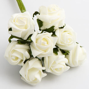 Ivory 3cm Small Foam Roses - Bunch of 8 Stems - Colourfast Flowers