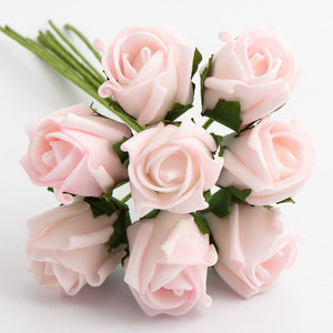 Pale Pink 3cm Small Foam Roses - Bunch of 8 Stems - Colourfast Flowers - Button Blue Crafts