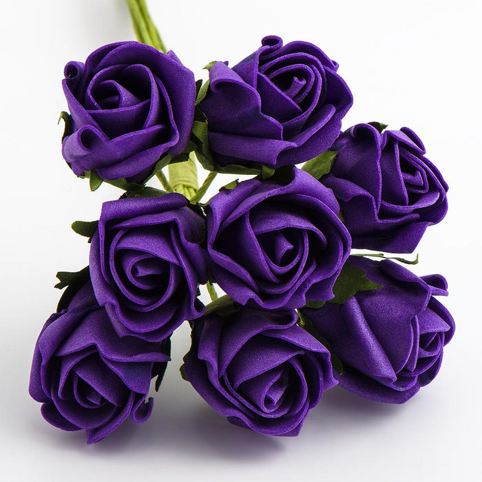 Purple 3cm Small Foam Roses - Bunch of 8 Stems - Colourfast Flowers