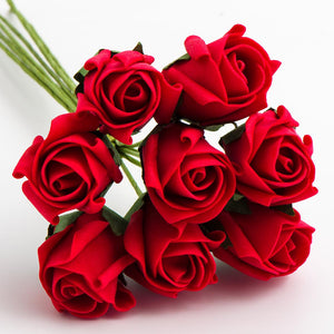 Red 3cm Small Foam Roses - Bunch of 8 Stems - Colourfast Flowers
