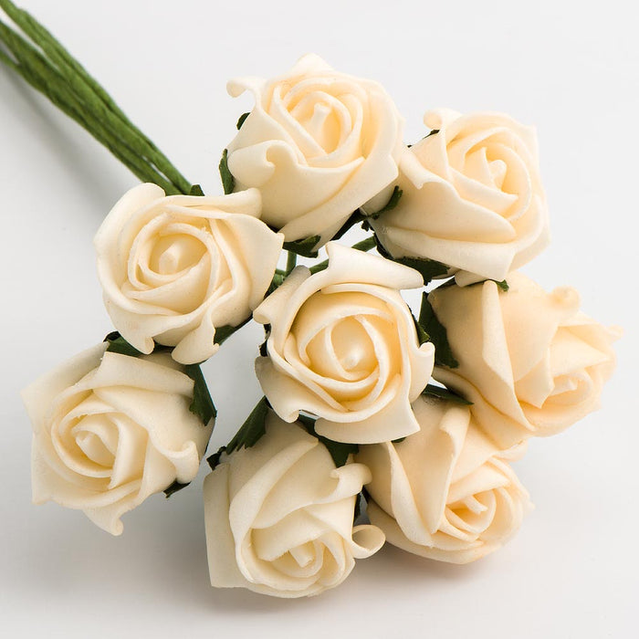 Cream 3cm Small Foam Roses - Bunch of 8 Stems - Colourfast Flowers
